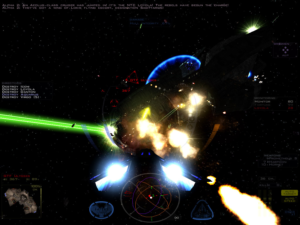 MediaVP updated graphics screenshot, enemy ship targeted at 367 meters.